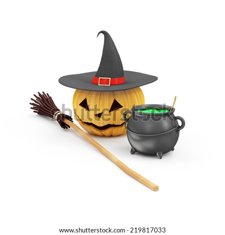 Happy Halloween concept. Halloween Jack O Lantern Pumpkin with Witch Hat, Broom and Witches Cauldron with Green Potion isolated on white background - stock photo