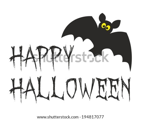 Happy Halloween party card with bat. Illustration isolated on white background. - stock photo