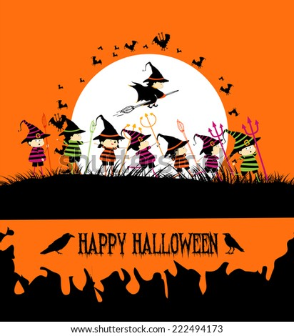 Happy Halloween party with kids - stock photo