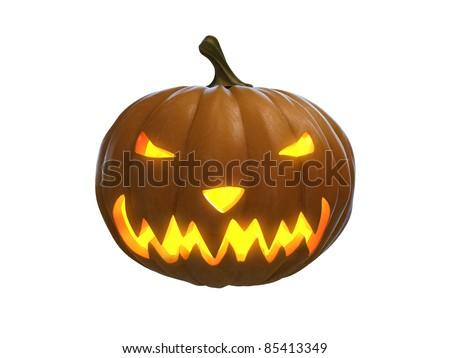 happy halloween pumpkin isolated on white - stock photo