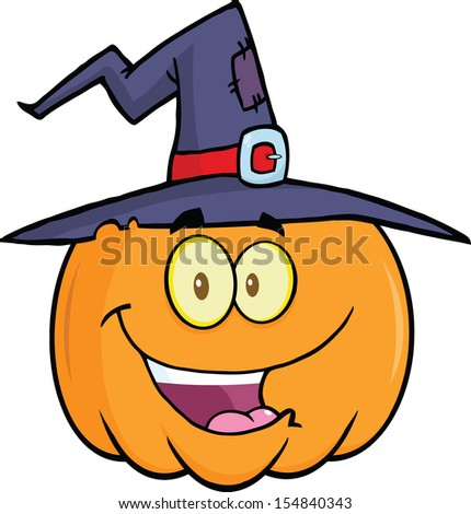 Happy Halloween Pumpkin With A Witch Hat Cartoon Mascot Illustration - stock photo