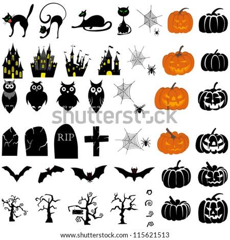 Happy Halloween theme icon set. Raster version. - stock photo
