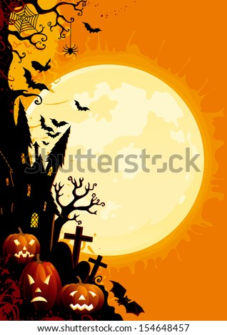 Happy Halloween. Three glowing halloween pumpkins, tree, old house, grave stone and many flying  bats on  abstract background with big moon.  - stock photo