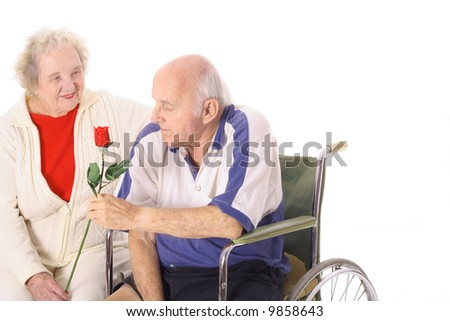 happy handicap couple - stock photo