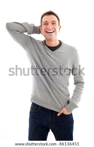 Happy handsome man standing isolated - stock photo