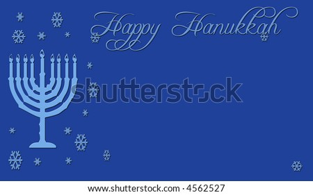 Happy Hanukkah greeting card in blue with snowflakes and menorah. - stock photo