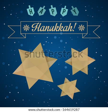 Happy Hanukkah Greeting with Star of David and Dreidels. Colorful illustration. - stock photo