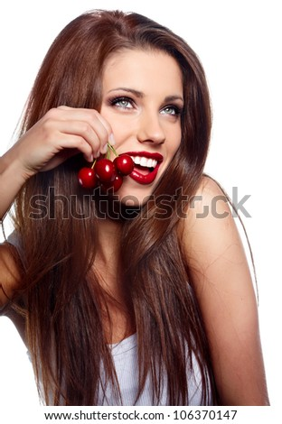 Happy health woman with cherry isolated on white background - stock photo