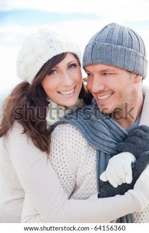 Happy healthy pair outdoors enjoying life - stock photo