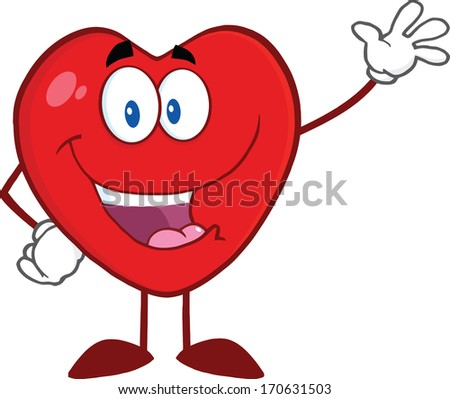 Happy Heart Cartoon Mascot Character Waving For Greeting. Raster Illustration Isolated on white - stock photo
