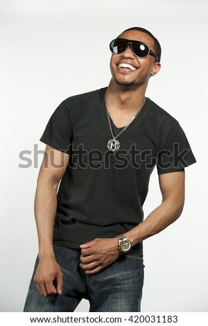 Happy Hip African American Male - stock photo
