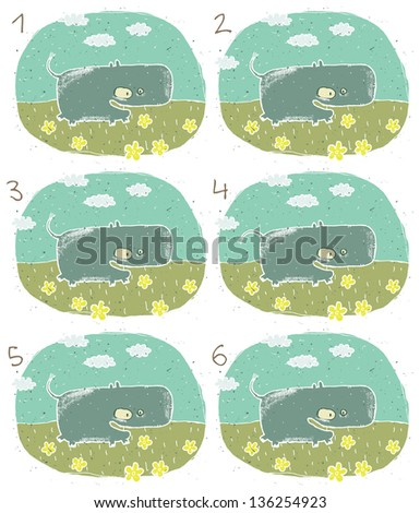 Happy Hippo Visual Game for children. Task: Find two identical images (match the pair)! Answer: No. 2 and 5. (for vector see image 114653239) - stock photo