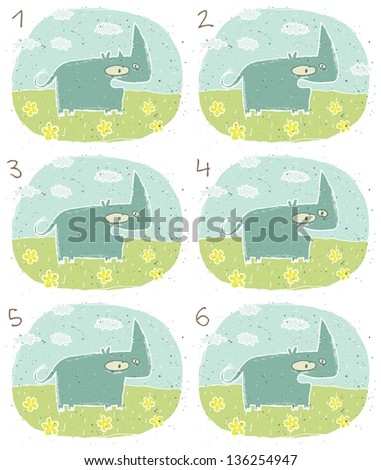 Happy Hippo Visual Game for children. Task: Find two identical images (match the pair)! Answer: No. 3 and 6. (for vector see image 114653233) - stock photo