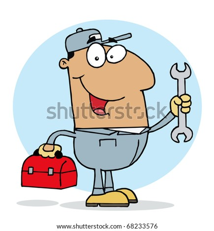 Happy Hispanic Mechanic Guy With A Tool Box And Wrench - stock photo