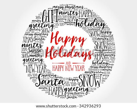 Happy Holidays and Happy new year circle word cloud, holidays lettering collage - stock photo