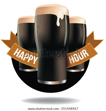 Happy hour dark beer ribbon design royalty free illustration for pubs, bars, nightclubs, restaurants, signage, posters, advertising, coasters, web, blogs, articles - stock photo