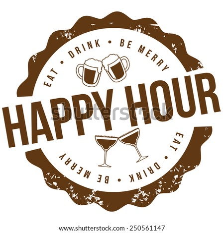 Happy hour stamp royalty free illustration for pubs, bars, nightclubs, restaurants, signage, posters, advertising, coasters, web, blogs, articles - stock photo