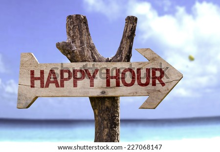 Happy Hour wooden sign with a beach on background - stock photo