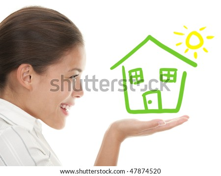 Happy house buyer / owner concept or woman dreaming of a house. Illustration and photo composite. Mixed chinese caucasian woman in profile isolated on white background. - stock photo