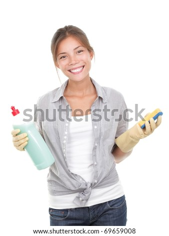 Happy housewife cleaning dishes isolated on white background. - stock photo
