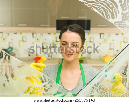 happy housewife doing her chores at home - stock photo