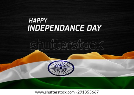 Happy Independence Day India flag and wood background - stock photo