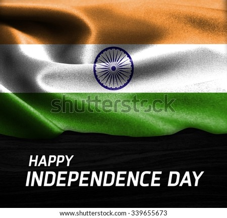 Happy Independence Day India flag on wood Texture background - stock photo