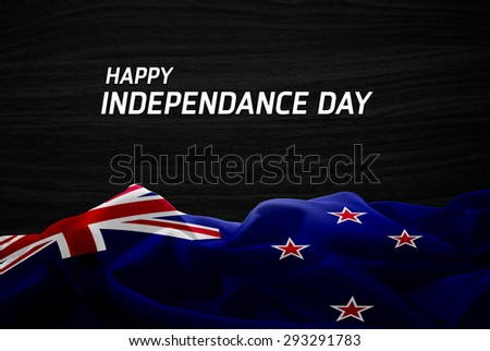 Happy Independence Day New Zealand flag and wood background - stock photo