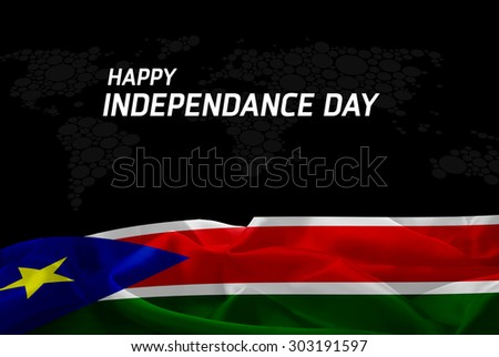 Happy Independence Day South Sudan flag and World Map background - stock photo
