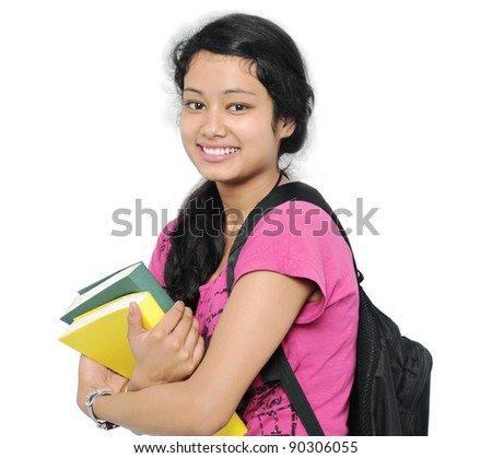 Happy Indian college student/girl. - stock photo