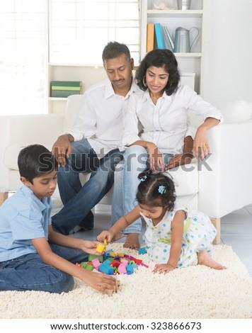 happy indian family - stock photo