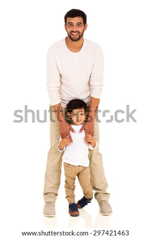 happy indian father and little boy on white background - stock photo