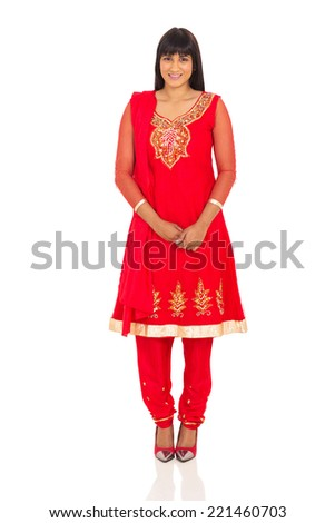 happy indian lady standing on white background - stock photo