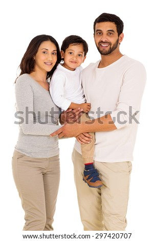 happy indian man and family isolated on white background - stock photo