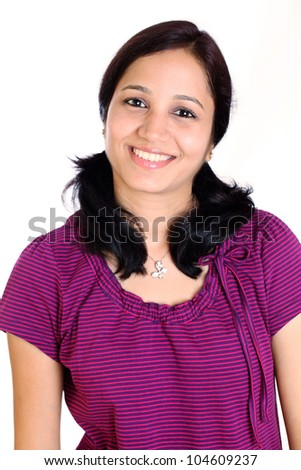 happy indian woman against white background - stock photo