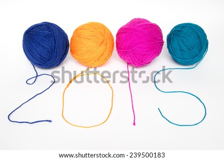 Happy Infinity : Happy New Year 2015 Colorful wool yarn - stock photo