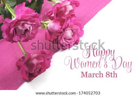 Happy International Women's Day, March 8, celebration greeting message with pink roses. - stock photo