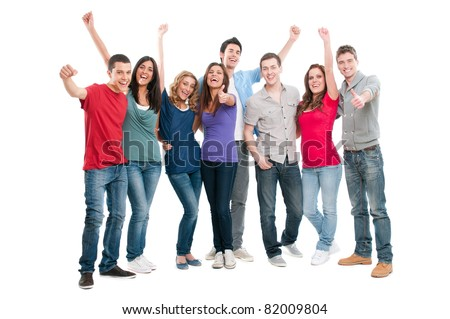 Happy joyful group of friends cheering isolated on white background - stock photo