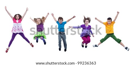 Happy joyful kids jumping high with real life facial expressions - isolated - stock photo