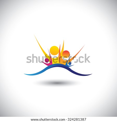 happy joyous family members together as unit - concept graphic . This graphic also represents family bonding, relationship, happiness, joy & fun, colorful people - stock photo