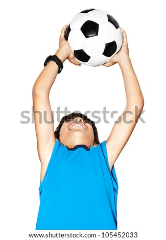 Happy jumping boy, cute kid playing football, active child, young male teen goalkeeper enjoying sport game, catching ball, isolated closeup portrait, preteen smiling and having fun, little footballer - stock photo