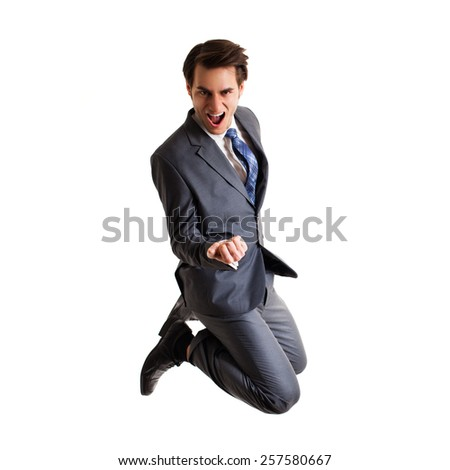 happy jumping businessman - stock photo