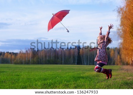 happy jumping girl outdoor - stock photo