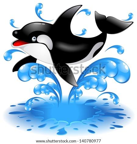 Happy Jumping Killer Whale Cartoon - stock photo