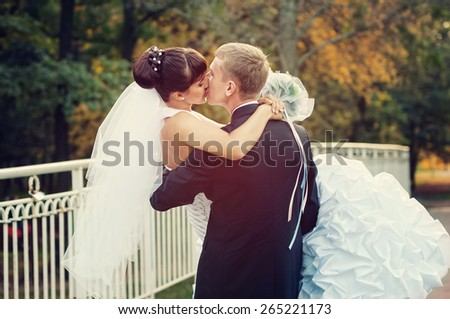 Happy just married couple kissing on the small bridge - stock photo