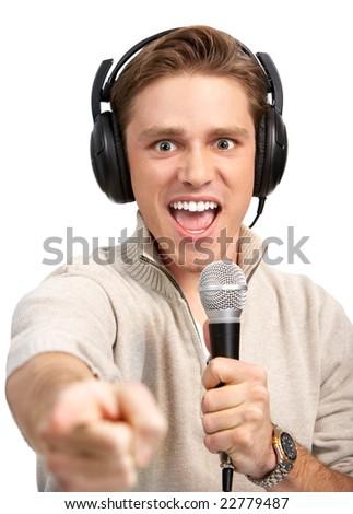 Happy karaoke signer. Isolated over white background - stock photo