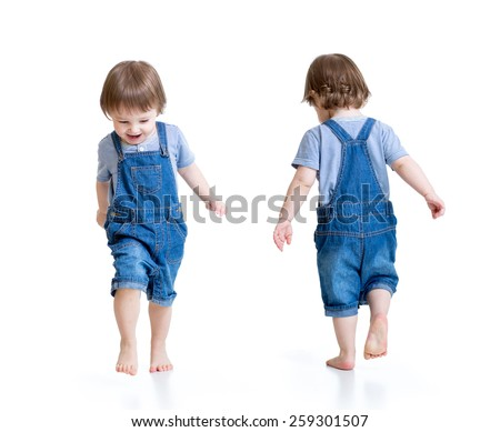 Happy kid little boy running, isolated on white. Front and rear view. - stock photo