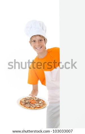 happy kid serving pizza with copy space at side - stock photo