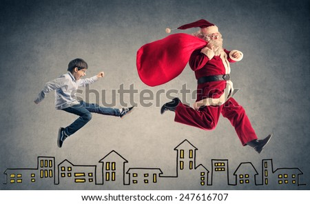 Happy kid waiting for Christmas Day  - stock photo