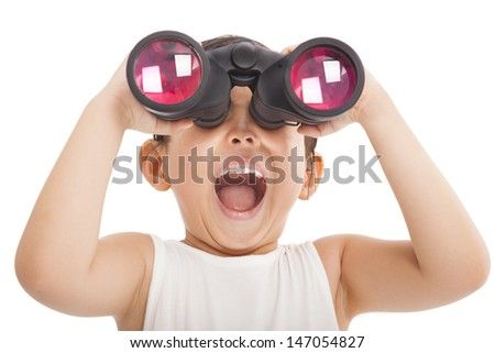Happy kid with binoculars - stock photo